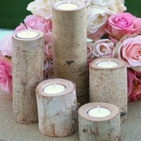 Birch Candles Centerpiece Votive Tea Light Candle by braggingbags