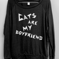 Cat Shirt - Cats are my Boyfriend - Black