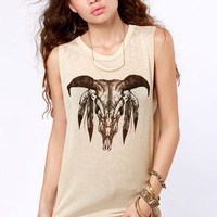 Wing and a Prairie Beige Skull Print Muscle Tee
