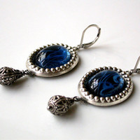 Ocean Mystery Victorian Silver Earrings with by LeBoudoirNoir