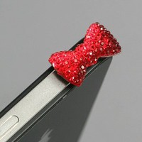 Red / Earphone jack accessory / Bow Dust Plug / Ear Cap / Ear Jack For iPhone / iPad / iPod Touch / 3.5mm (7232-4):Amazon:Cell Phones &amp; Accessories