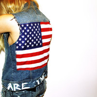 We Are The Dreamers Studded American Flag Denim Vest / Americana / US Flag Sleeveless / July 4th Clothing / Custom Patriotic Jean Jacket