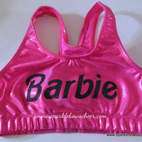 Bar Bar  Metallic Sports Bra Pink/Black by SparkleBowsCheer