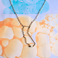 California Necklace - Silver Wire Cali State Outline Pendant