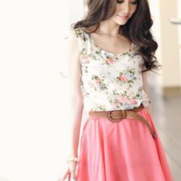 Asian Fashion Floweriness Ladies Summer Dresses Pink  : Wholesaleclothing4u.com