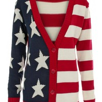 KrispOutlet Button Down American Flag Cardigan - KrispOutlet from Krisp Clothing UK