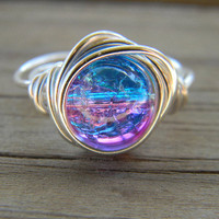 Silver plated wire wrapped cracked ice pink and blue by LolliDay