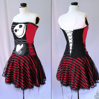 Nightmare Before Christmas striped corset dress - handmade to order - smarmyclothes