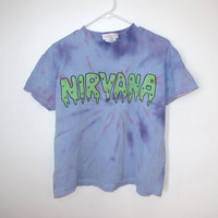 nirvana tie dye glow in the dark slime t shirt S