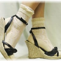 SN2 Nude Lace socks for heels