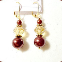 Earrings in Brown Pearls and Amber Beads