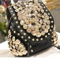 Multi-buckle tassel rhinestone shoulder bag Messenger bag backpack