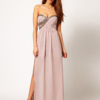 Little Mistress Embellished Bust Maxi Dress