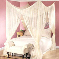 4 CORNER BED CANOPY FOUR POINT MOSQUITO NET INSECT MESH