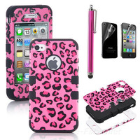Pen + For iPhone 4S 4 4G Hybrid Case High Impact Pink Leopard Black Silicone