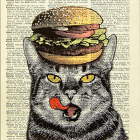 Hamburger Cat  ORIGINAL ARTWORK hand painted Mixed by popcapopca