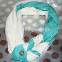 Tiffany blue and cream Braided Infinity Scarf