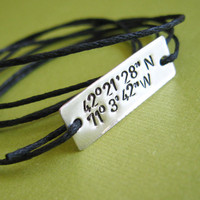 Latitude and Longitude bracelet customized by SpiffingJewelry
