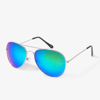 F6866 Iridescent Aviator Sunglasses | FOREVER 21 - 1031556866