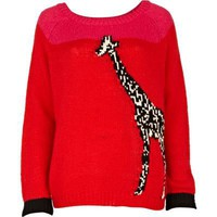 red giraffe jumper - jumpers - jumpers / cardigans - women - River Island