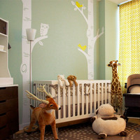 PROJECT NURSERY FEATURED - Birch Tree with Owl and Birds Decal