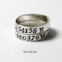 Longitude Latitude Ring Set Hand Stamped Sterling by TheTaffyBox