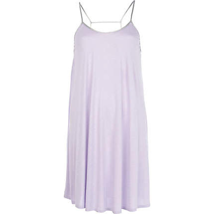 Purple contrast strap babydoll dress