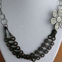 mixed metal bike chain metal flower necklace by WanderingJeweler