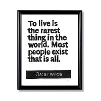 LINOCUT PRINT - Oscar Wilde Quote To Live is the Rarest Thing in the World -Inspirational  6x8
