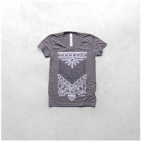 The Nomad - tshirt for women - S-XL - tribal chest plate screenprint in white and gray - heather brown womens t shirt - gift for her