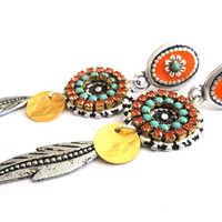 Bohemian hippie long post earrings in turquoise and orange - Swarovski rhinestones and enamel - gypsy style
