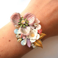 Bridesmaids set of 3 - or more - bridal bracelets shabby chic wrist corsages in dusty pink and off white - wedding jewelry bridesmaids gift