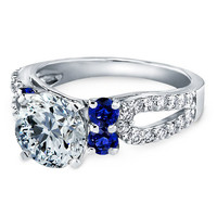 Engagement Ring - Round Diamond Open Pave Horseshoe engagement ring blue accent in 14K White Gold - ES899BRWG