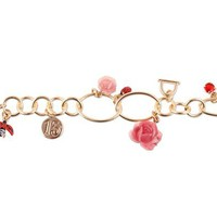 Lady Bug & Flowers Charm Bracelet