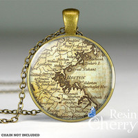 Boston map pendant,map jewelry,map necklace,map pendant charms,Boston map resin pendant,Massachusetts- M1018CP