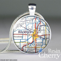 vintage Rockford map glass pendant,Rockford map resin pendants,pendant charms,Illinois- M0407CP