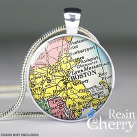 vintage Boston map glass pendants,art charm jewelrys,charming resin pendants- M0163CP
