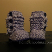 Crochet Ugg inspired Baby Boots Grey Black sole &amp; by homeschoolma