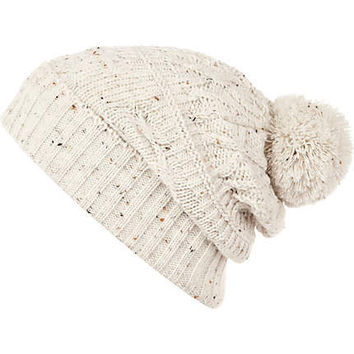 Ecru cable kniit bobble beanie