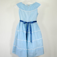 50s Blue Taffeta Prom Dress Fein Originals Womens Size XS