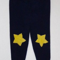 Upcycled Soft Wool Pants Longies with Stars, 24-36 mo.
