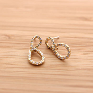 unbalanced INFINITY stud earrings with crystals, 2 colors | girlsluv.it
