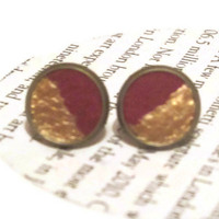 Red and Gold Leather Stud Earrings, Leather Earrings, Earstuds, Ear Stud Earring