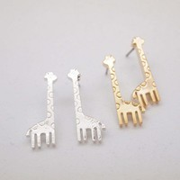 Cute giraffe stud earrings-gold / silver