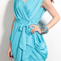 Blue V-neck Sleeveless Criss Cross Pleated Wrap Chiffon Dress - Sheinside.com
