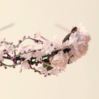 Bridal flower crown, Wedding hair piece, Lavender floral head piece, tiara - IRIS