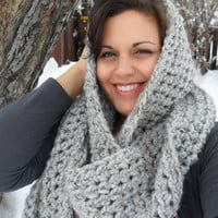 Chunky Infinity Scarf Heather Gray Long by SoLaynaInspirations
