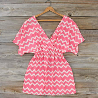 Lucky Charm Chevron Dress, Sweet Women's Bohemian Clothing