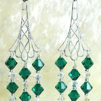 Chandelier Emerald Crystal Earrings by designsbykini on Etsy