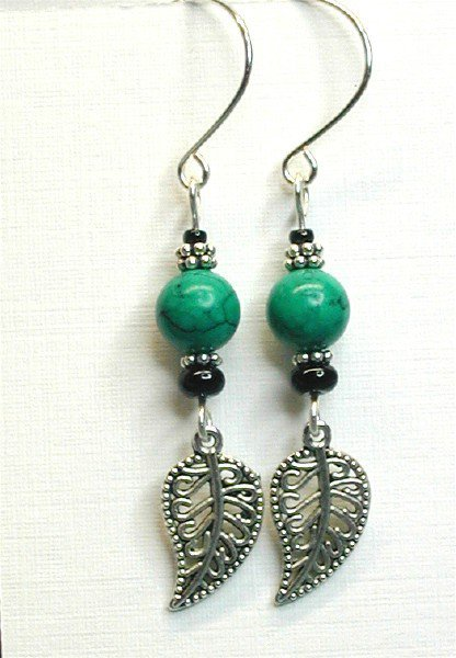 Winter Blue Green with Silver Tone Leaf Earrings by designsbykini